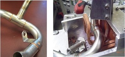 High temperature copper brazing of stainless to stainless tube assemblies in a shield gas fixture